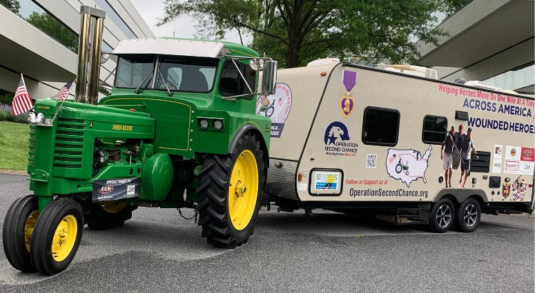Across America for Wounded Heroes drives John Deere tractor