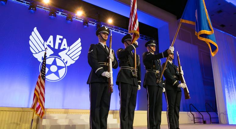 airmen present colors at an Air Force Association function