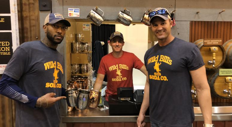 (l-r) Marine Corps veterans Courtney Brown, James Ferguson and Josh Frasier of Wild Bill's Soda