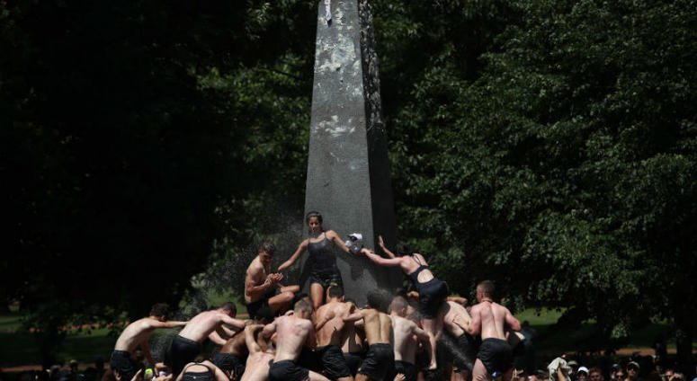 Plebes no more! Naval Academy freshmen complete Herndon Monument Climb
