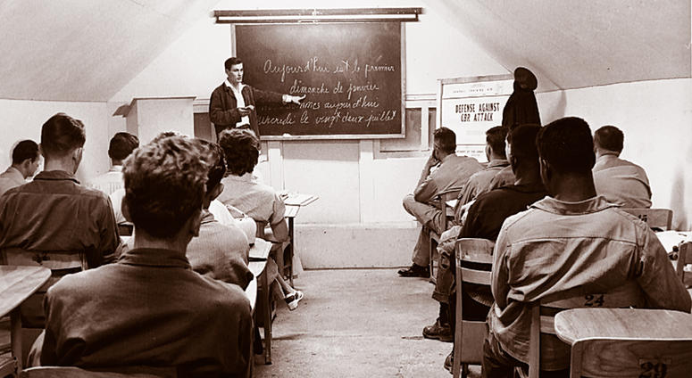 A Class of UMUC students in Europe in the 1950s