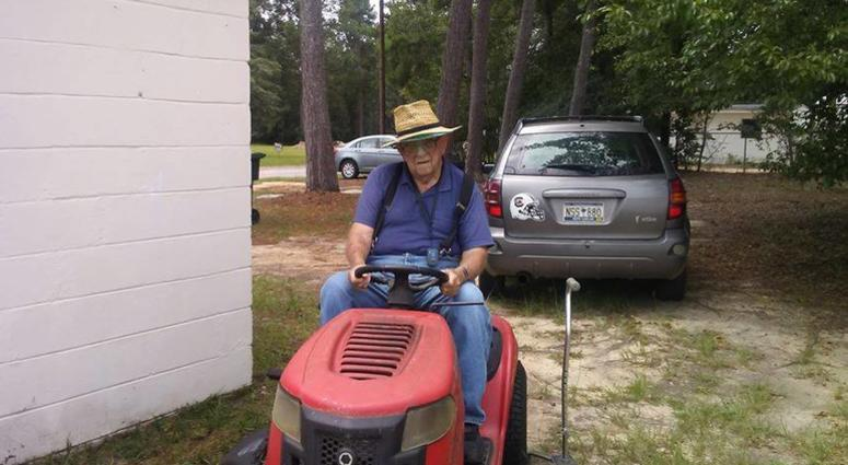 Mr. C on lawnmower