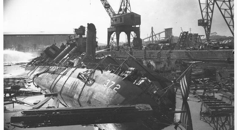 Damaged ships after the Japanese attack on Pearl Harbor, Dec. 7 1941. The USS Cassin (DD372) and the USS Downes (DD375) in Drydock No. 1.