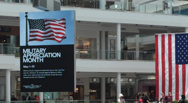 Fashion Centre at Pentagon City is celebrating military members all month