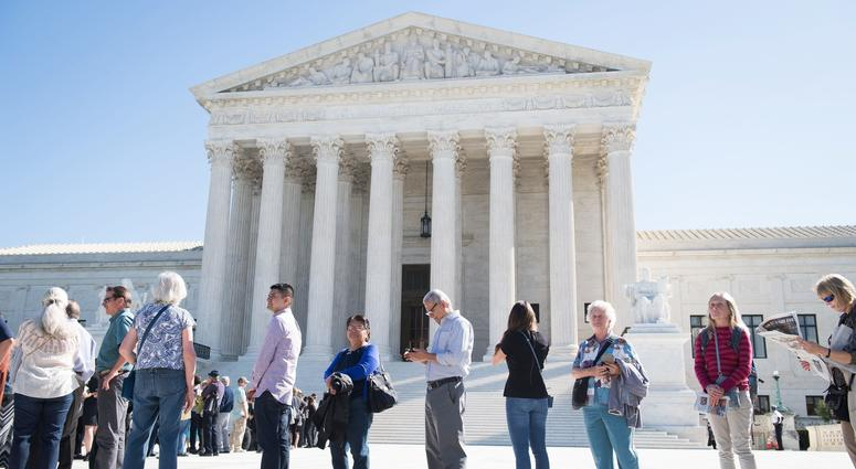 Outside the Supreme Court on Oct. 3, 2017 in Washington, DC