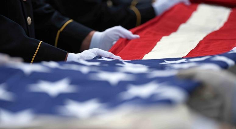 American flag, white glove
