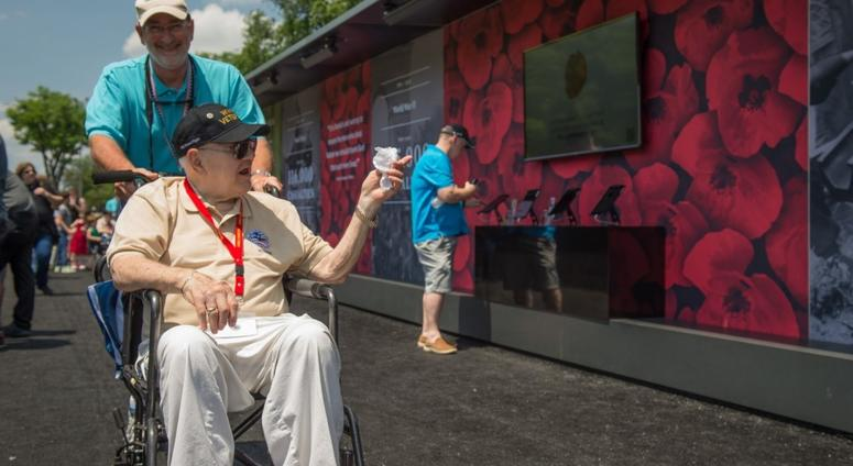 A veteran takes in the Poppy Wall of Honor in 2018