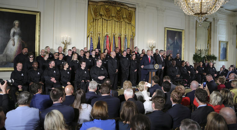 President Donald Trump speaks during an event for the Wounded Warrior Project Soldier Ride in the East Room of the White House on April 26, 2018, in Washington, DC.