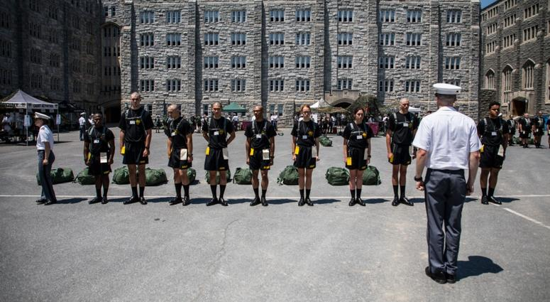 Newly arrived West Point cadets are taught to salute and march
