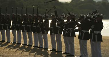 "Marines with the U.S. Marine Corps Silent Drill Platoon execute their ""long line"" sequence."
