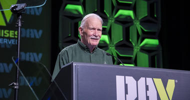 Retired Marine Capt Dale Dye accepts the 2019 DAV bugle award during the DAV National Convention in Orlando Florida