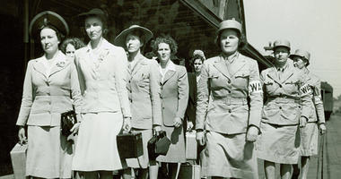 Newly arrived Women's Army Auxiliary Corps recruits march at Fort Des Moines, Iowa, in 1942.