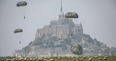 U.S Army Special Forces commemorate WWII with jump into Mont Saint-Michel, Normandy, France.