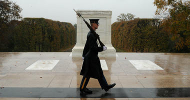 Severe weather doesn't deter Tomb Sentinel from doing sacred duty at Tomb of the Unknown Soldier at Arlington National Cemetery.