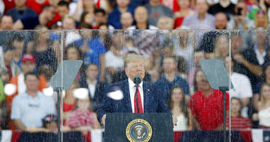 President Donald Trump speaks during an Independence Day celebration in front of the Lincoln Memorial, Thursday, July 4, 2019, in Washington.
