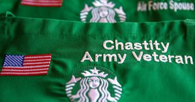 Starbucks aprons show their commitment to hiring veterans and mliitary spouses.