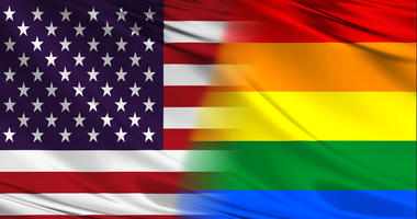 america and lgbt flags - stock photo
