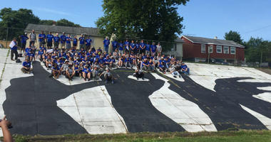 80 veterans from The Mission Continues helped clean-up Ben Franklin High School in Baltimore.