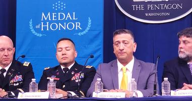 Medal of Honor winner Staff Sgt David Bellavia during press conference at the Pentagon.