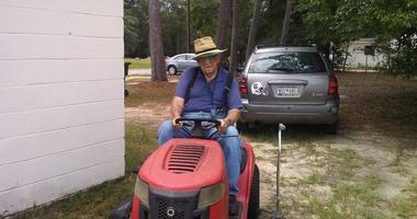 Mr. C on lawnmower