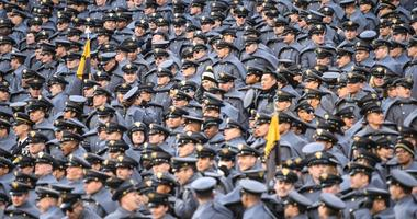A sea of West Point cadets watch the 119th Army-Navy Game in Philadelphia, Pa., Dec. 8, 2018.
