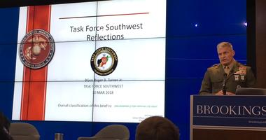 U.S. Marine Corps Brig. Gen. Roger Turner Jr. speaks about his recent experience in Helmand Province, Afghanistan at the Brookings Institute in Washington, D.C. March 30, 2018.