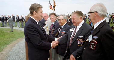 President Ronald Reagan with veterans of D-Day on June 6, 1984