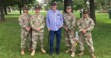 Four drill sergeants (pictured) saved a family from a burning car.