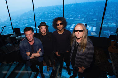 Sean Kinney, Mike Inez, William DuVall and Jerry Cantrell of Alice In Chains pose for a photo before performing for SiriusXM's Lithium Channel at The Space Needle on August 21, 2018 in Seattle, Washington