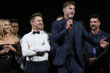 Scarlett Johansson, Jeremy Renner, and Chris Hemsworth from Avengers: Endgame