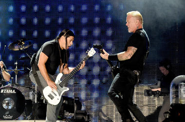 Musicians Robert Trujillo (L) and James Hetfield of Metallica perform onstage at the Rose Bowl on July 29, 2017 in Pasadena, California