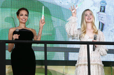 """Angelina Jolie and Elle Fanning attend """"Maleficent"""" Japan premiere at Ebisu Garden Place on June 23, 2014"""