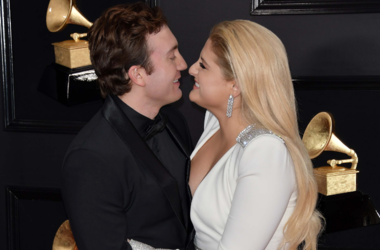 Daryl Sabara and Meghan Trainor arrives at the 61st Annual Grammy Awards red carpet at the Staples Center in Los Angeles, California