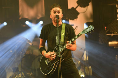 Tim McIlrath of Rise Against performs at the Bayfront Park Amphitheatre.