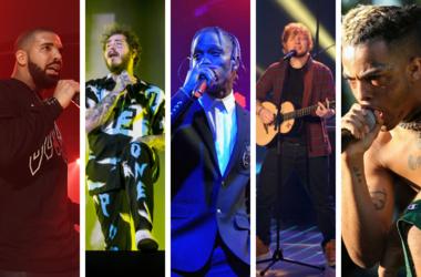 Drake, Post Malone, Travis Scott, Ed Sheeran, XXXTentacion