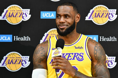 LeBron James answers a question during an interview session with reporters during the Los Angeles Lakers media day at the UCLA Health Training Center.
