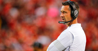 Niners head Coach Kyle Shanahan checks in from Youngstown, Ohio