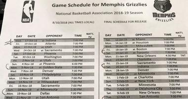 Grizzlies 2018-19 Schedule