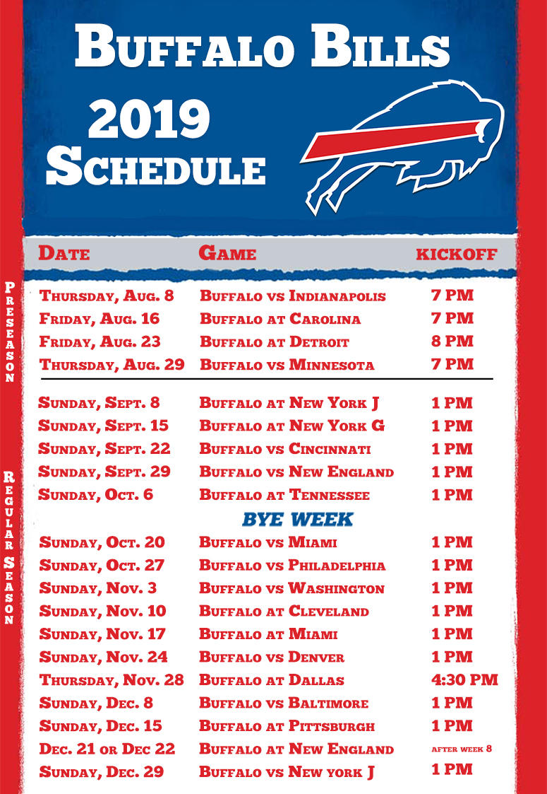 image relating to Buffalo Bills Schedule Printable identified as Buffalo Charges 2019 Period Timetable ESPN Rochester 95.7 FM