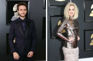 Zedd arrives at the 60th Annual Grammy Awards at Madison Square Garden. / Katy Perry arrives at the 59th Annual Grammy Awards at Staples Center.
