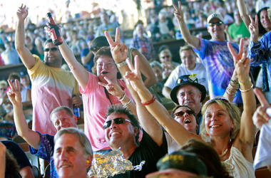 Fans cheer during the concert marking the 40th anniversary of the Woodstock music festival August 15, 2009
