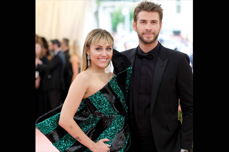 Miley Cyrus and Liam Hemsworth attend The 2019 Met Gala Celebrating Camp: Notes on Fashion at Metropolitan Museum of Art on May 06, 2019 in New York City. (Photo by Dimitrios Kambouris/Getty Images for The Met Museum/Vogue)