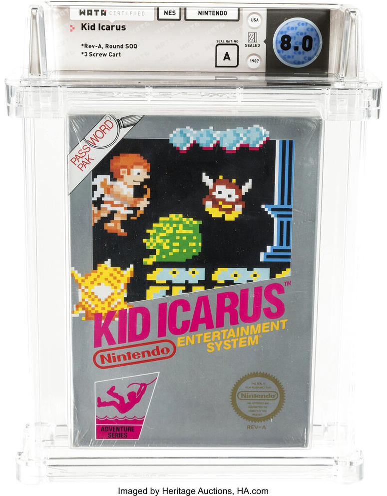 "This undated photo provided by Heritage Auctions, shows an unopened copy of a 1987 cult-classic video game ""Kid Icarus"" belonging to Scott Amos of Reno, Nev. The boxed game cartridge, still in the bag with the receipt for $38.45 from J.C. Penney's catalog"