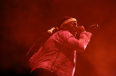 2 Chainz makes a guest appearance during DJ Khaled's set during the Coachella Valley Music and Arts Festival at Empire Polo Club.