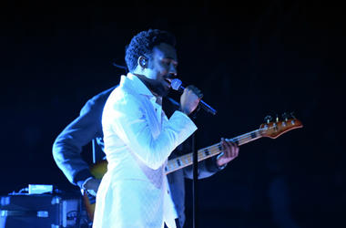 Childish Gambino aka Donald Glover performs Terrified during the 60th Annual Grammy Awards at Madison Square Garden.