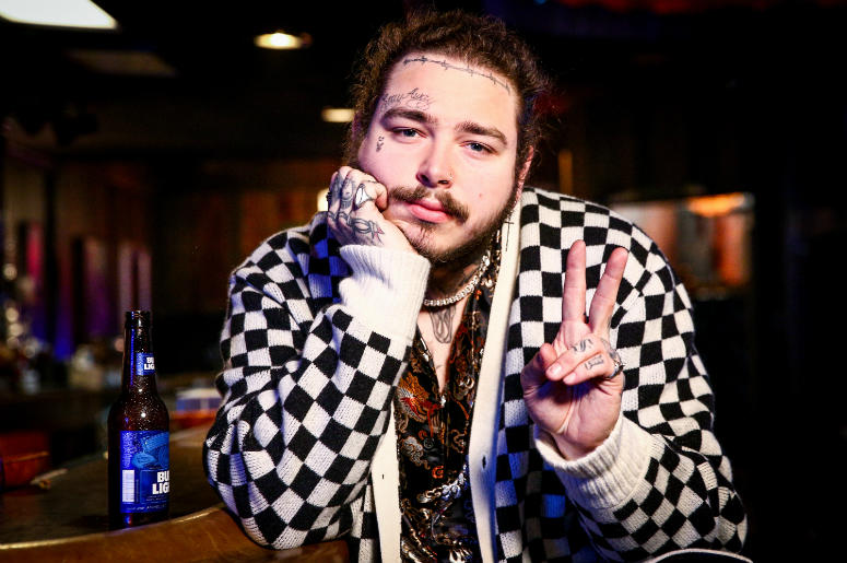 Post Malone behind the scenes before his Bud Light Dive Bar Tour show in Nashville at Footsies Dive Bar on March 20, 2018 in Los Angeles, California.