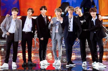 """BTS perform on """"Good Morning America"""" on May 15, 2019 in New York City"""