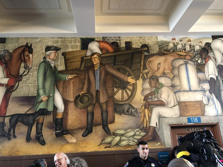 A mural in George Washington High School that is slated for destruction was open for the public to view it on Aug. 1, 2019.