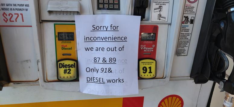 A Shell station in Windsor had run out of some types of fuel as customers stockpiled gas before a planned power outage by PG&E on Oct. 9, 2019.