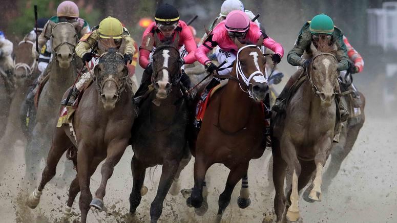 War of Will (second from left) gets bumped by Maximum Security (third from left) during the 2019 Kentucky Derby.